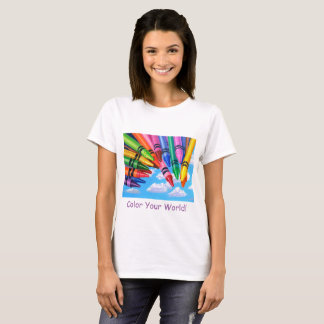 Colorful Painting of Crayons on T-Shirt. T-Shirt