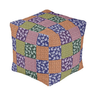 Colorful Paisley Patchwork Pattern Pouf