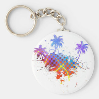 Colorful Palm Trees Illustration Basic Round Button Keychain
