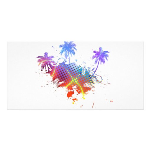 Colorful Palm Trees Illustration Photo Card