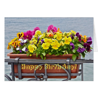 "COLORFUL PANSIES IN FLOWER BOX/HAPPY BIRTHDAY!"" CARD"