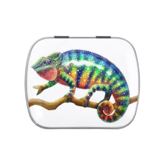 Colorful Panther Chameleon Candy Tin