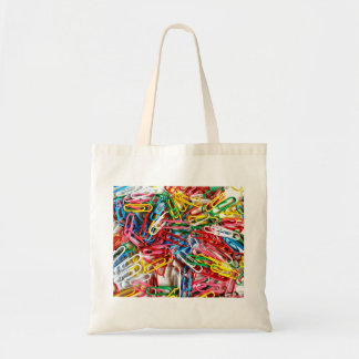 Colorful Paper Clips Office Supply Gifts Budget Tote Bag