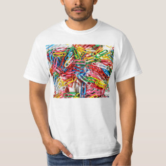 Colorful paper clips on white background. shirts
