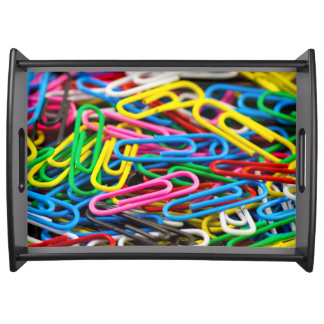 Colorful paper clips serving tray