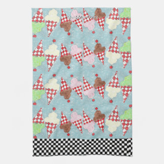 Colorful Parade of Dancing Ice Cream Cones Kitchen Towels