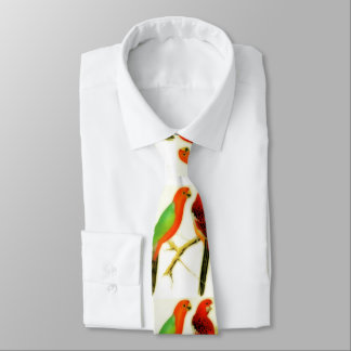 colorful parakeets - watercolor tie