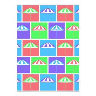 "Colorful parasol pattern 5"" x 7"" invitation card"