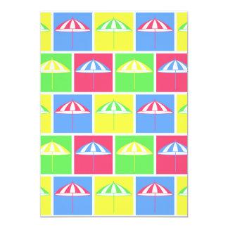 Colorful parasol pattern invitations