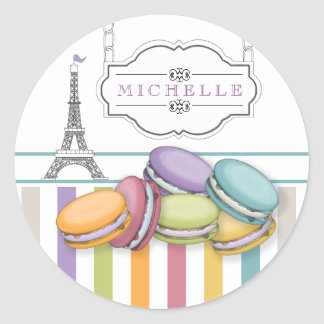 Colorful Paris Macarons Eiffel Tower Monogram Classic Round Sticker