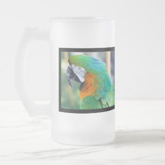 Colorful Parrot Frosted Beer Mug
