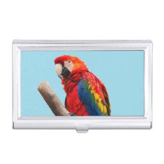 Colorful Parrot Portrait Photo Business Card Holder