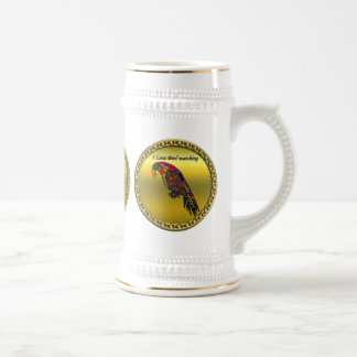 Colorful Parrots in abstract yellow red green blue Beer Stein