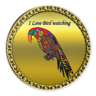 Colorful Parrots in abstract yellow red green blue Ceramic Knob