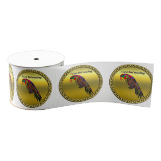 Colorful Parrots in abstract yellow red green blue Grosgrain Ribbon