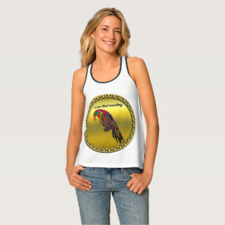 Colorful Parrots in abstract yellow red green blue Tank Top