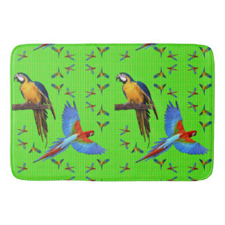 Colorful Parrots Scarlet Blue and Gold Macaw Bath Mat