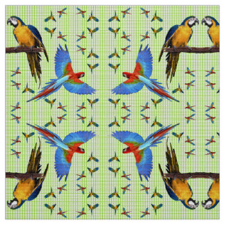 Colorful Parrots Scarlet Blue and Gold Macaw Fabric