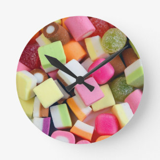 Colorful party candy mix print clock
