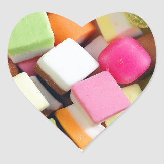 Colorful party candy mix print heart sticker
