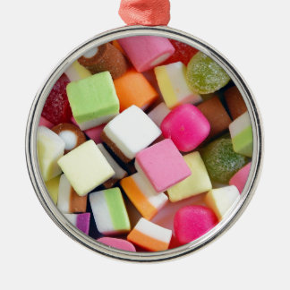 Colorful party candy mix print Silver-Colored round ornament
