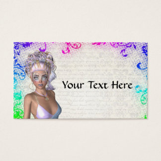 Colorful party girl business card