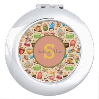 Colorful Party Theme Cupcakes & Teapots  Monogram Makeup Mirror