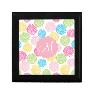Colorful Pastel dahlia flowers pattern Gift Box