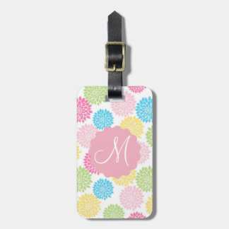 Colorful Pastel dahlia flowers pattern Luggage Tag