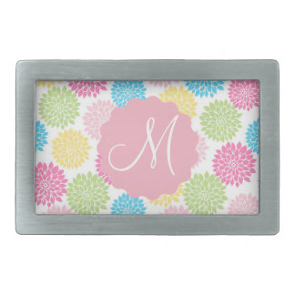 Colorful Pastel dahlia flowers pattern Rectangular Belt Buckles