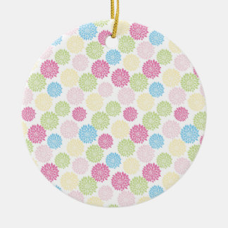 Colorful Pastel dahlia flowers pattern Round Ceramic Ornament