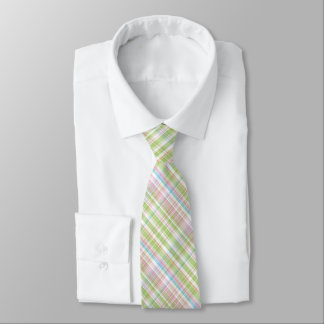 Colorful Pastel Diagonal Tartan Plaid Pattern Tie