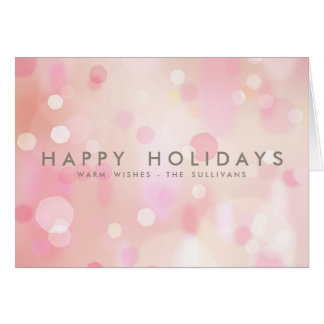 Colorful Pastel Lights Bokeh Happy Holidays Card