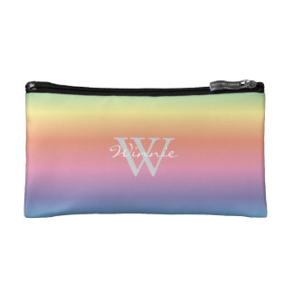 Colorful Pastel Rainbow Colors Monogram Cosmetic Bag