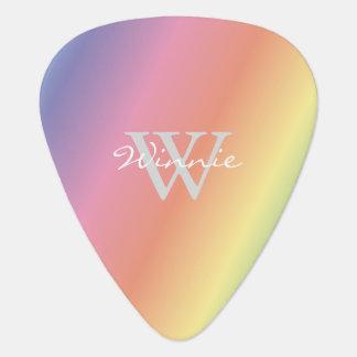Colorful Pastel Rainbow Colors Monogram Guitar Pick