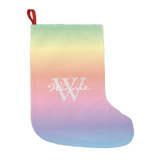 Colorful Pastel Rainbow Colors Monogram Small Christmas Stocking