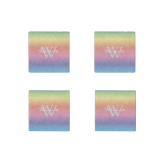 Colorful Pastel Rainbow Colors Monogram Stone Magnets