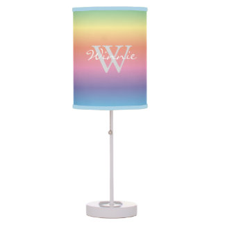 Colorful Pastel Rainbow Colors Monogram Table Lamp
