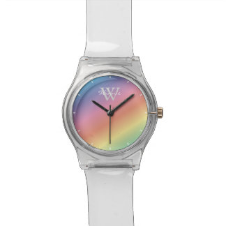 Colorful Pastel Rainbow Colors Monogram Watch