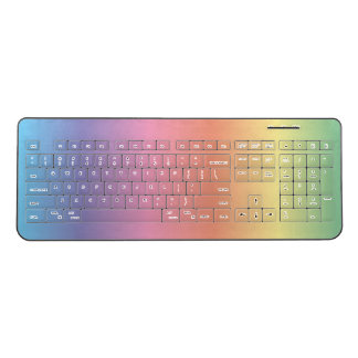 Colorful Pastel Rainbow Colors Wireless Keyboard