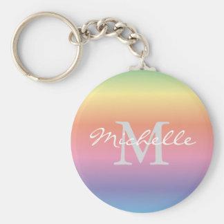 Colorful Pastel Rainbow Gradient Colors Monogram Keychain