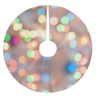 Colorful Pastel Round Circles Out Of Focus Bokeh Brushed Polyester Tree Skirt