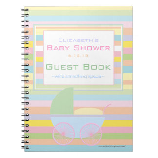 Colorful Pastel Stripes Baby Shower Guest Book- Notebooks