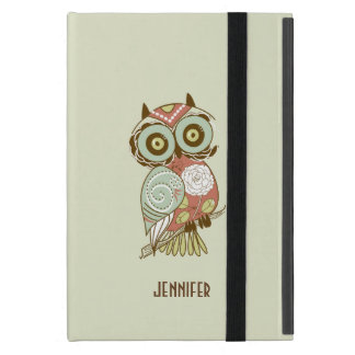 Colorful Pastel Tones Retro Floral Owl iPad Mini Case