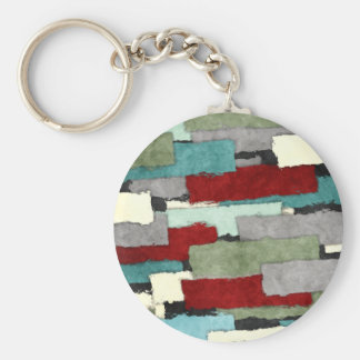 Colorful Patches Abstract Basic Round Button Keychain
