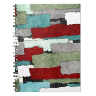 Colorful Patches Abstract Spiral Note Book