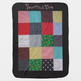 colorful patchwork fabric squares vintage style baby blanket