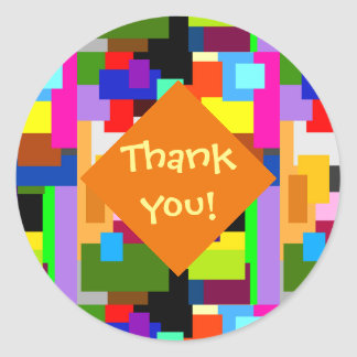 Colorful Patchwork Layers Abstract Thank You Classic Round Sticker