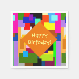 Colorful Patchwork Layers Modern Abstract Birthday Disposable Napkin