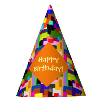 Colorful Patchwork Layers Modern Abstract Birthday Party Hat